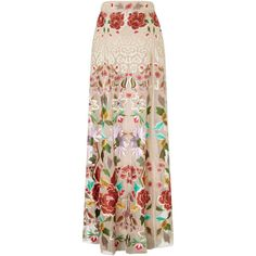 Temperley London Long Baudelaire Skirt (11.005 BRL) ❤ liked on Polyvore featuring skirts, white mix, long maxi skirts, floral print skirt, white skirt, long flare skirt and silk maxi skirt