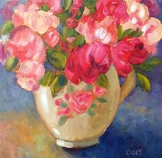 """Daily Paintworks - """"Peony Vase"""" - Original Fine Art for Sale - © Libby Anderson"""