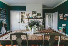table, dark walls