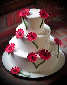 Red Gerber Daisies Wedding Cake
