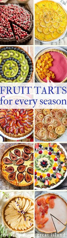 Year of Fruit Tarts ~ 12 gorgeous recipes ~ there's a fresh fruit dessert for every month of the year.A Year of Fruit Tarts ~ 12 gorgeous recipes ~ there's a fresh fruit dessert for every month of the year. Healthy Fruit Desserts, Fruit Snacks, Fruit Recipes, Delicious Desserts, Dessert Recipes, Easy Desserts, Beef Recipes, Fruit Custard Tart, Fruit Tarts