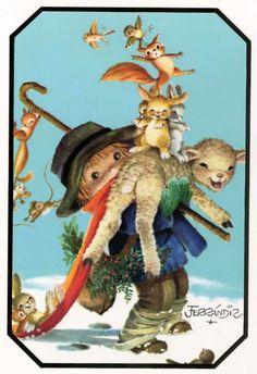 Goigs i devocions populars: Nadal Vintage Christmas Cards, Christmas Images, Xmas Cards, Vintage Cards, Christmas Illustration, Cute Illustration, Art Illustrations, Zany Zoo, Kids Poems