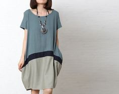 This dress is loose fit design, baggy hem, made of soft and thick cotton linen fabric, loose fit dress,short sleeve, round neck.There is two side pockets,, simple but unique.It is the Asia size,...