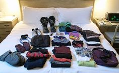 How to pack for a ski trip in a carry-on bag. Here's a shot of all the clothing and winter-weather gear I packed in my carry-on bag during my stay at the Washington School House Hotel in Park City. Note the items include snow boots, tennis shoes, hats, mittens, several base layers, a couple of sweaters, goggles, thick socks, bathing suit and pajamas. How to pack for a ski trip in a carry-on bag...here's how I fit it all in my 22-inch Travelpro rollerboard