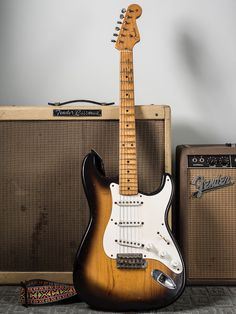 An early example in incredible condition. Fender Stratocaster, Fender Guitar Amps, Fender Electric Guitar, Gibson Guitars, Gretsch, Acoustic Guitar, Rare Guitars, Fender American Vintage, Fender Vintage