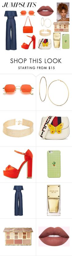 """pulp"" by lydia-johnson-i ❤ liked on Polyvore featuring GUESS, Gorjana, Gucci, Bamboo, WithChic, Michael Kors, Sephora Collection, CÉLINE and jumpsuits"