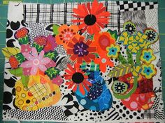 There is nothing like a new adventure with my dear friend Sue to rejuvenate my creative soul! A three day class w. Applique Patterns, Applique Quilts, Applique Ideas, Quilt Patterns, Quilting Projects, Quilting Designs, Collage, Flower Quilts, Mini Quilts