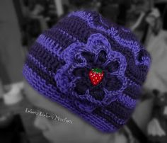 crocheted hat purple