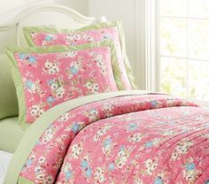 Victoria Quilted Bedding | Pottery Barn Kids, how I love pottery barn bedding, now if I could only find a cheaper version of this for Evelyn's new bed!