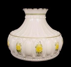 Guys will love this lighting replacement lampshade for kerosene milk glass yellow roses 10 in student lamp shade kerosene oil shades student 10 inch at midwest emporium mozeypictures Image collections