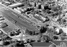 Aerial of Ottawa near the railway tracks, now the Queensway, with the Rideau Canal on the lower right. On the upper left is the Ottawa Auditorium, demolished in the mid Ottawa Valley, Auditorium, Old Photos, Ontario, Paris Skyline, Canada, History, Pictures, Trains