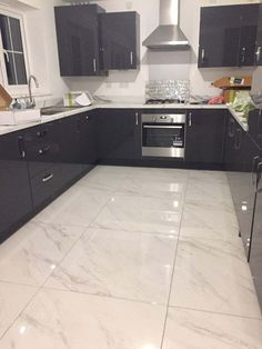 Hellas Marble Floor Tile - customer image - Hellas Marble Effect Floor Tile - pinupi love to share Kitchen Room Design, Modern Kitchen Design, Kitchen Interior, Home Decor Kitchen, Kitchen Ideas, Marble Floor Kitchen, Kitchen Flooring, Marble Tile Flooring, White Tile Floors