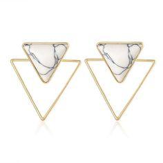 Geometric Triangle Stone Earrings