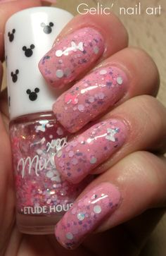 Gelic' nail art: Jelly sandwich in pink with Etude House - #4 Minnie Pink Ribbon