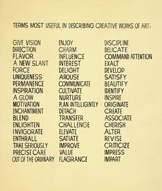 John Baldessari, Terms most useful in describing creative works of art, 1966-68