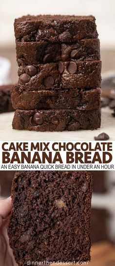 Cake Mix Chocolate Banana Bread is an easy banana quick bread made with chocolate chips and cake mix in under an hour.einfacher Cake Mix Chocolate Banana Bread is an easy banana quick bread made with chocolate chips and cake mix in under an hour. Chocolate Cake Mix Recipes, Cake Mix Desserts, Easy Desserts, Chocolate Cake Mix Cookies, Quick Dessert Recipes, Quick Recipes, Cake Mix Banana Bread, Chocolate Banana Bread, Chocolate Chips