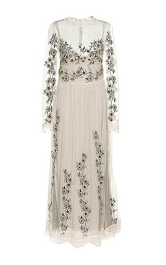 Flower Embroidered Tulle Long Sleeve Dress by Red   Moda Operandi