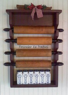 Wooden Rolling Pin Rack Primitive Country by FirecrackerKid, $25.00