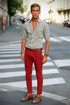Red pants and a check shirt | Italian style For Michael's new red pants...Possible Christmas Outfit