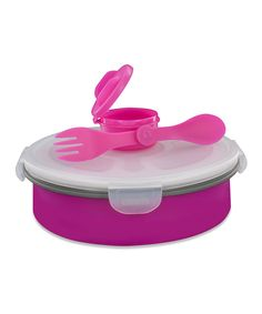 Perfect for salads at work - even includes a dressing container. Pink Collapsible Deluxe Salad Bowl Kit by Smart Planet #lunch #healthyeating #salads