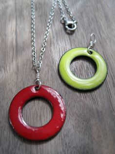 The Positivity Circle Reversible Necklace Red and by Steinvika, $39.00