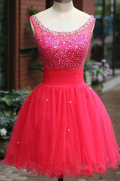 Fuchsia Tulle Beading Prom Dresses Homecoming Dress Sexy Bridesmaid Dress ,Cheap Prom Dress
