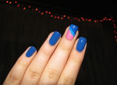 Pink & blue accent nail :)