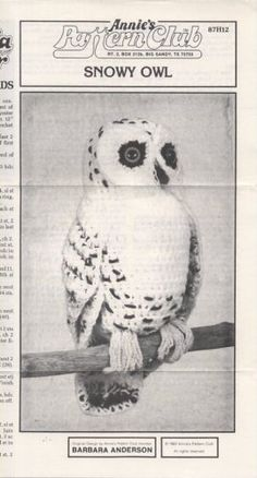 Annie's Pattern Club Birds of a Feather Backwoods Birds Snowy Owl Crochet Pattern 87H12
