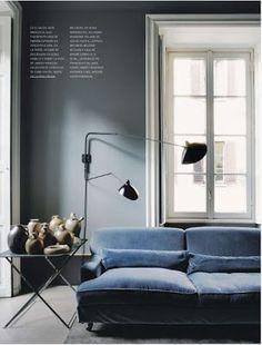 gray blue velvet sofa