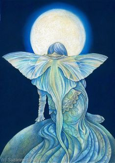 """""""Moon Moth Fairy"""" pen and ink drawing by Suzanne Gyseman"""