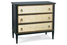 "Hickory White | Tracery Chest w/ Eglomise Drawers, Brown | With cream-colored églomisé glass accents, hinged brass hardware, and a delicate golden trim, this handcrafted three-drawer dresser evokes an Old World feel. Carved of maple solids and topped with walnut veneers | 39""w x 18""d x 36""h 