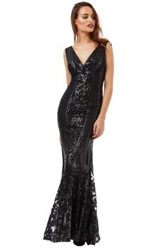 Wholesale V Neck Sequin Fishtail Maxi Dress Fishtail Maxi Dress, Beautiful Maxi Dresses, Sequin Maxi, Affordable Wedding Dresses, Black Sequins, Fitted Bodice, Formal Gowns, Wholesale Clothing, Ball Gowns