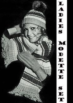 Items similar to PDF Vintage Womens Ladies Knitting Pattern Hat Scarf & Gloves Mittens Winter Boho Mod Chick Groovy Preppy Twiggy EASY Pom Pom on Etsy Easy Knitting, Knitting Patterns, Crochet Patterns, Vintage Knitting, Vintage Crochet, Hippie Chick, Scooter Girl, Skater Girls, Striped Knit