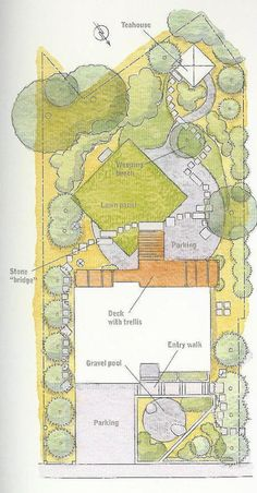 "Angled square lawn as part of a Japanese Journey, site plan, design by JMMDS in ""Outside the Not So Big House."""
