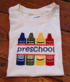 Back to School Crayon Split Applique T-shirt by SewingDoodles on Etsy