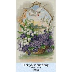 Counted Cross Stitch Kit - For your birthday Counted Cross Stitch Kits, It's Your Birthday, Tapestry, Gallery, Toss Pillows, Punto De Cruz, Dots, Flowers, Goblin