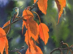 Bright Orange Leaves Painting by Catherine G McElroy - Bright Orange Leaves Fine Art Prints and Posters for Sale