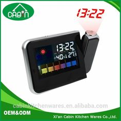 Snooze Light Laser Projection Table Digital Alarm Clock With Weather Station