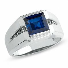 Zales Men's Lab-Created Blue Sapphire Ring in White Gold with Diamond Accents Mens Gold Rings, White Gold Rings, White Gold Diamonds, Natural Diamonds, Rings For Men, Sapphire Birthstone, Blue Sapphire Rings, Gold Ring Designs, Steel Jewelry