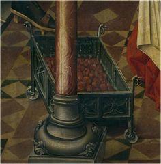 Brazier. 1490 Birth of St. John the Baptist, Master of Miraflores, Museo del Prado, Madrid