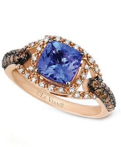 Le Vian 14k Rose Gold Ring, Tanzanite (1-3/8 ct. t.w.) Chocolate and White Diamond (3/8 ct. t.w.) Ring - Rings - Jewelry & Watches - Macy's