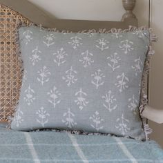 Smokey Blue Reverse Moonflower Linen Cushion - 40 x Susie Watson, Indian Block Print, Dream Home Design, Printed Linen, Cushion Pads, Home Accessories, Delicate, Cushions, Throw Pillows