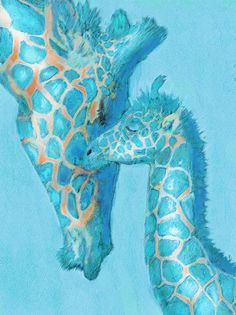 giraffes again- aqua with a touch of orange- mother, baby, love, nursery