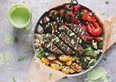 Summer inspired Fajita Veggie Burger Bowls with Blistered Sweet Red Peppers and doused with Cilantro Lime Cashew Cream, totally vegan and gluten-free.