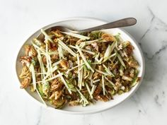 Get Fried Brussels Sprouts with Creamy Mustard and Cider Dressing Recipe from Food Network