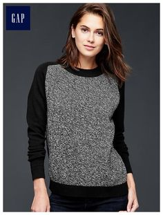 Marled-front pullover sweater