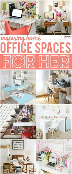 Inspiring Home Office Decor Ideas for Her. Office decorating ideas, office organization and office inspiration on Frugal Coupon Living.