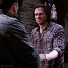 "[gif]  ""Come on. Come on, just let it go, okay?  Let it go brother."" - Dean  #Supernatural  #Sacrifice 8.23"