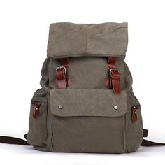 Eshow Girls Canvas Everyday Backpack Rucksack Daypack, Olive -- Discover this special outdoor gear, click the image : Day backpacks