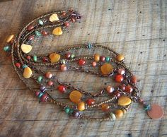 Multistrand Copper and Mixed Gemstone Beaded Necklace